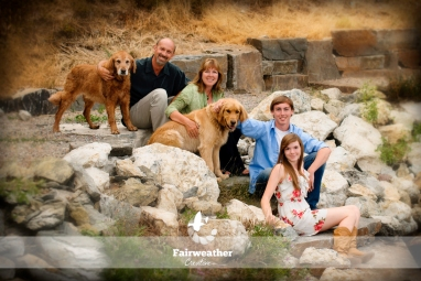Family portraits with 2 Dogs