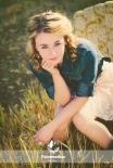 Senior Girl Portrait on Chair Vintage Effect