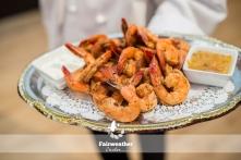 Jerk shrimp with lime aioli and Caribbean dip